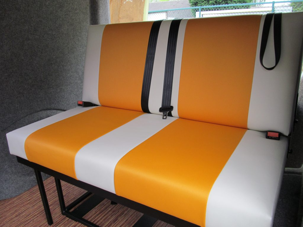 CAMPERVAN UPHOLSTERY rock and roll bed orange and cream vinyl 1024x768