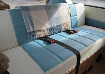 camper gallery CAMPER GALLERY rock and roll bed pale blue and cream vinyl waffle stitching 400x284
