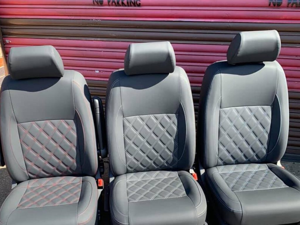 CAMPERVAN UPHOLSTERY vw campervan single cab seats with Bentley style stitching 1 1024x768