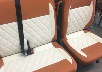 camper gallery CAMPER GALLERY vw single and twin cab seats twin Bentley stitching brown and cream vinyl 1 400x284